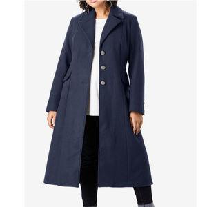 Roaman's Long Wool Classic COAT 26w Navy Blue #84